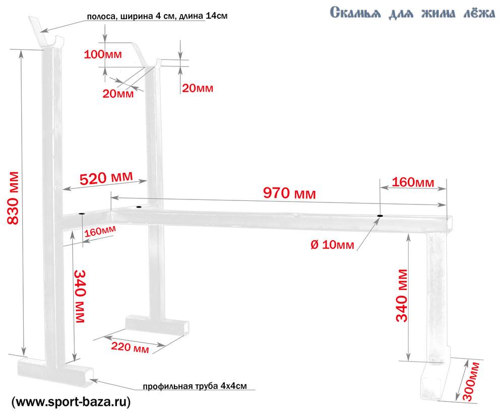 Схема скамьи для спины