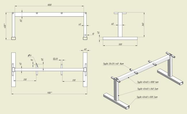 Схема чертеж скамьи для жим лежа