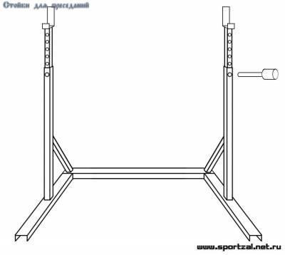 Стойка для штанги схема с размерами из дерева